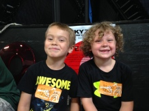 Sam & his good friend Graham at Sky Zone (trampoline park)